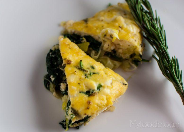 Koken met restjes: frittata met prei en spinazie
