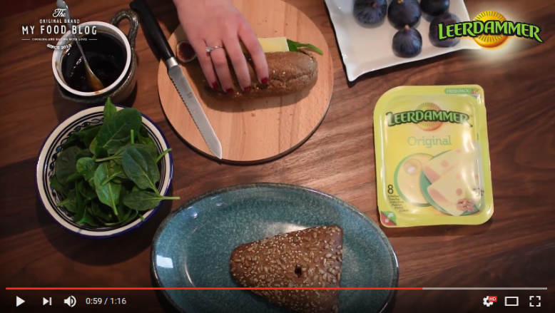 Broodje Leerdammer kaas, vijg en spinazie