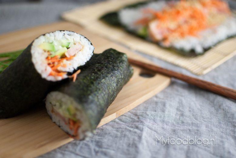 sushi burrito in progress