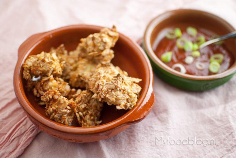 kip cornflakes en saus
