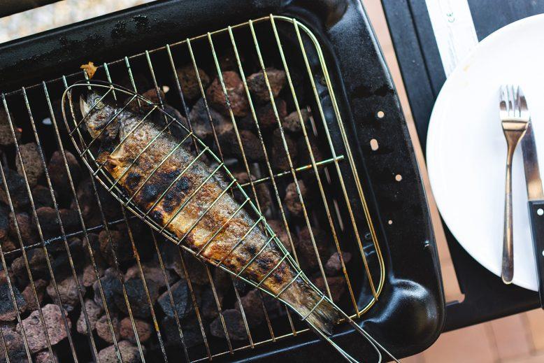 vis grillen op de BBQ